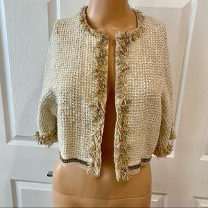 TRACY FEITH SZ P 100% SILK CROPPED JKT W GOLD BEAD